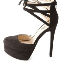 Black Cut-Out Lace-Up Ankle Cuff Platform Heels by Charlotte Russe
