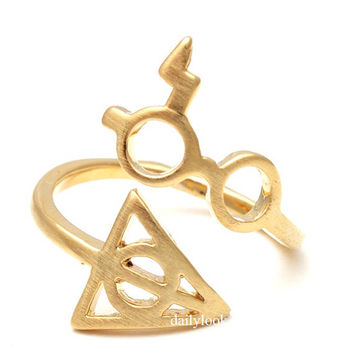 harry potter glasses and deathly hollow ring, adjustable ring, harry potter ring, deathly hollow, unique ring, harry potter, stretch ring