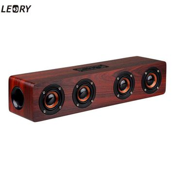 LEORY Brand New Home Office Wooden 12W USB Charging Bluetooth Speaker Wireless TF Card AUX Mode Music Player Speaker