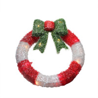 "16"" Lighted Tinsel Red and White Wreath with Bow Christmas Window Decoration"
