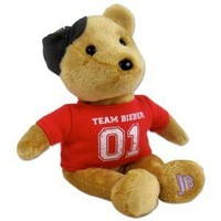 Justin Bieber Official Signature Tan Bear with Red Team Bieber Shirt and Cap
