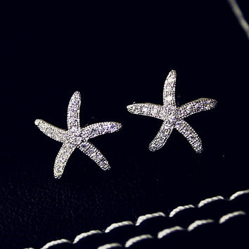 Starfish Mermaid Sterling Silver Earrings + Beautiful Gift Box