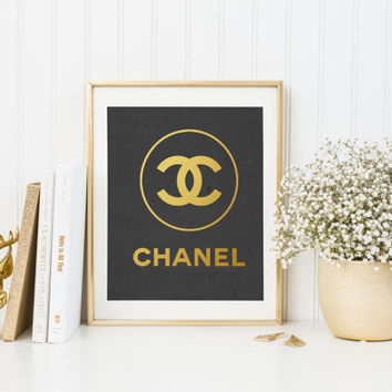 Chanel print, Printable chanel logo, Black chanel print, Coco Chanel, Fashion decor Gold Foil Black and Gold Coco Chanel INSTANT DOWNLOAD
