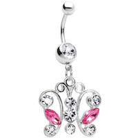 Clear Pink Gem Tokyo Lace Butterfly Dangle Belly Ring | Body Candy Body Jewelry