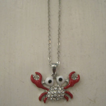 Rhinestone Crab Necklace - Crab Charm Necklace