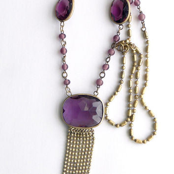 Vintage, Art Deco, Amethyst Glass necklace.  Czech glass, Brass chain.