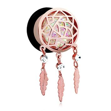 Rose Gold Opal Sparkle Dreamcatcher Single Flared Ear Gauge WildKlass Plug