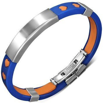ON SALE - Team Spirit Rubber Bracelet with Engraveable Stainless Steel Plate