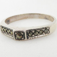 Vintage Sterling Silver Marcasite Ring Size 6.5