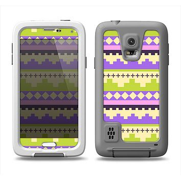 The Purple & Green Tribal Ethic Geometric Pattern Samsung Galaxy S5 LifeProof Fre Case Skin Set