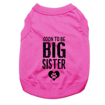 Personalized Doggie Tank Tops. Soon To Be Big Sister Dog Shirt. Large Breed Pet Clothes. Gift for Expecting Mother.