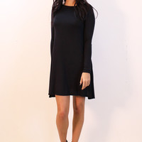 Long Sleeve Jersey Swing Dress in Black