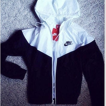 Fashion NIKE Hooded Zipper Cardigan Sweatshirt Jacket Coat Windbreaker Sportswear
