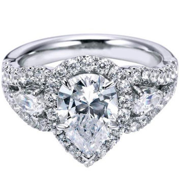"Ben Garelick Royal Celebrations ""Aurora"" Pear Cut Halo Diamond Engagement Ring"