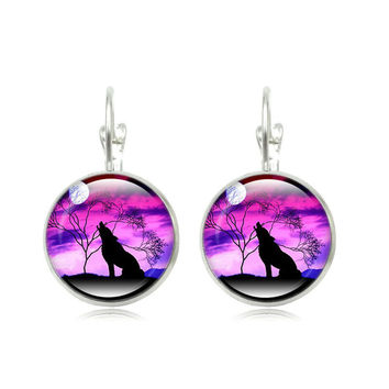 Fashion Stud Earrings Howling Wolf Moon Art Glass Cabachon Bezel Brincos Perola Silver Plated Women Earrings Jewelry Accessories