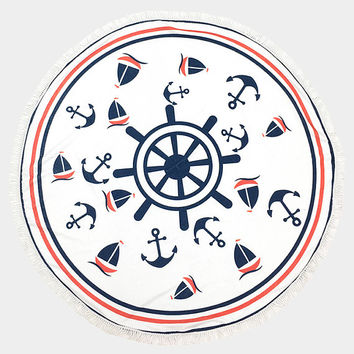 Navy Blue & White Anchor, Sailboat Nautical Pattern Round Terry Beach Towel with Tassel Trim Beach blanket / Beach towel / Wrap / Rug
