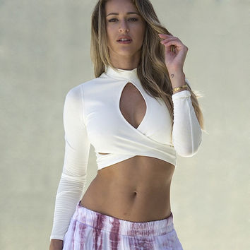 Cut Out Front Long Sleeve Crop Top