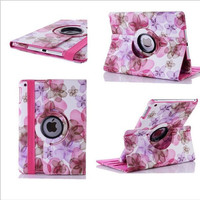 Fashional Ink Flower Cover for iPad Air 2 Case 360 Rotating Pu Leather Cover for iPad Air2 Case PC Protector Cases for iPad 9.7