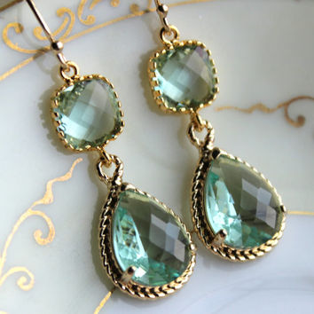 Prasiolite Earrings Gold Two Tier Teardrop Earrings - Prasiolite Green Bridesmaid Earrings Gift - Green Wedding Jewelry - Bridesmaid Jewelry