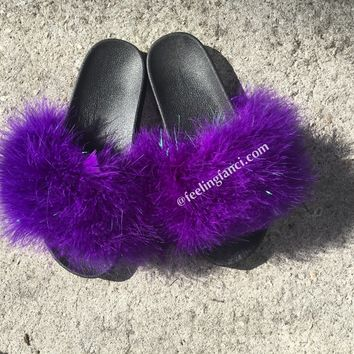 Purple Sparkly faux fur slides