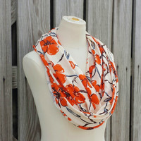 Orange Floral Infinity Scarf - Floral Eternity Scarf - Italian Jersey Knit - Orange Flowers