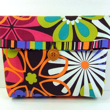 Flat Bottom Cosmetic Pouch Foldover Clutch Bridesmaid Gift Make Up Bag, Michael Miller Flowers Brown Orange Red Green Pink - Pochette