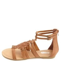 Basket-Weave Studded Gladiator Sandals by Charlotte Russe - Cognac