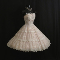 Vintage 50's 50s Cupcake Strapless Ivory Pink by VintageVortex