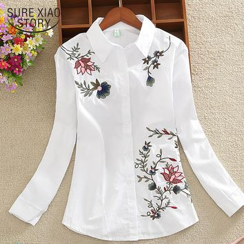 New long sleeve OL women shirts fashion large size casual loose flowers embroidered chiffon women blouse top blusas 20H 35