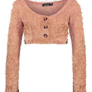 Fluffy Knit Crop Cardigan | Boohoo
