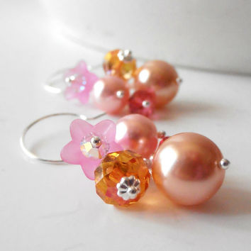 Beaded Bridesmaid Earrings Bead Cluster Pearl Dangles Pink and Orange Wedding Jewelry Sorbet Bridesmaid Gifts Bridal Party Flower Jewelry