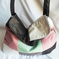 Patchwork faux leather Boho hand bag  Mod patchwork by ACAmour