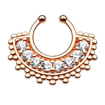 Large Paved CZ Gem Fan Rose Gold IP Faux Septum Hanger