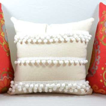 decorative throw pillow white tassel pillow anthropologie inspired pillow with Pom poms