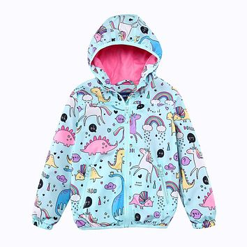 Girls Hooded Jackets Spring Windbreaker Baby Girls Clothes Animal Kids Unicorn Coats Outerwear Children Clothing