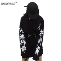 XUANCOOL Fashion Women Streetwear Clothes Harajuku Kpop Critic Scientist Letters Loose Long Sleeve Gothic Pullover Sweatshirts