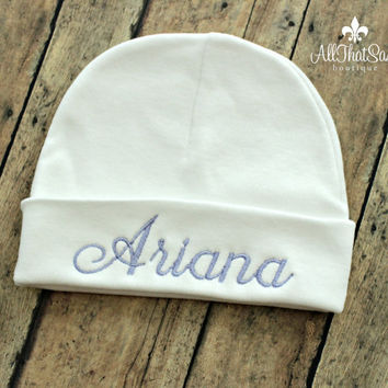 Personalized White Girls or Boys Hospital Cap - Gender Neutral - Monogrammed Baby Beanie - Newborn - Name -  Baby Shower Gifts - Keepsake