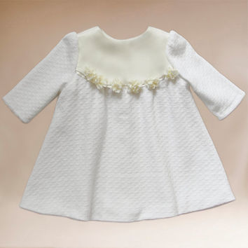 3-piece Girls Dress , Flower Girl Dresses , Linen dress , Christening Gown , Baptism Gown, Christening Dress,