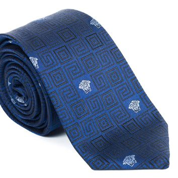 Gianni Versace Blue Geometric Silk Tie