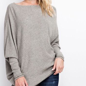 Emma Off The Shoulder Thermal Sweater - Faded Olive
