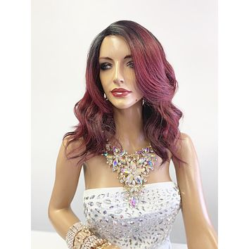 """Red Burgundy Ombré SWISS Lace Front Wig 10"""" with deep """"c"""" parting 619"""