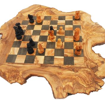 Engraved Unique Rustic Olive Wood Chess Set Board 18 Inch, Custom Engraved Monogrammed Wooden Chess Set Game, Rustic Personalized Dad gift
