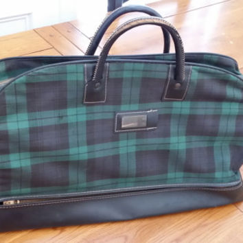 Vintage Blue and Green Tartan Plaid Doctor Overnight Bag Purse Vintage Fashion Style