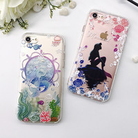 Cute Cartoon Phone Case For iPhone 7 7 Plus 6 6s Plus Clear Soft TPU Air Cushion Cover Little Mermaid Cover For iPhone 7 Case -03129
