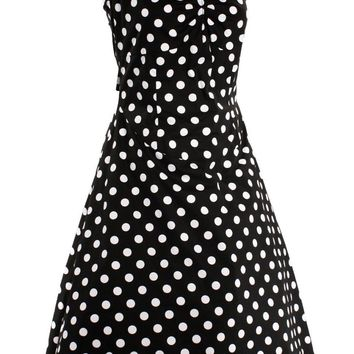 Plus Retro Rockabilly Pinup 50's Polka Dot Halter Dress
