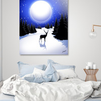 «Lonely Deer on Snowy Silent Night Mountains», Numbered Edition Acrylic Glass Print by BluedarkArt Lem - From 70€ - Curioos