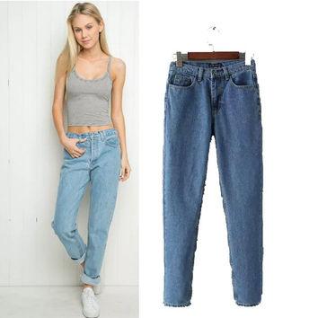 Stylish High Rise Rinsed Denim Casual Women's Fashion Pants Jeans [5013202692]