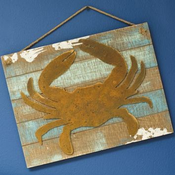 Rusty Crab Plank Board Wall Decor with Jute Rope