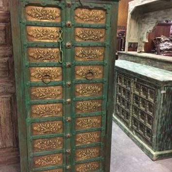Antique Armoire Brass Floral Carved Green Patina Storage Cabinet ConsciousDesign