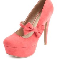 Bow Strap Almond Toe Platform Pumps by Charlotte Russe - Teaberry